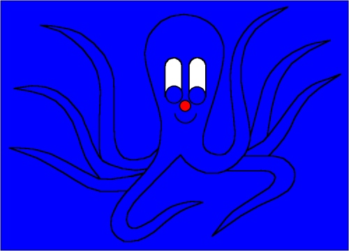 Blue Octo-Pus hides in a place that is blue, octopus, cuttlefish, from Online Children's book The cuttlefish Octo-Pus and the crab Crab-Mac-Claw. Main character in tje LUCCA project. By Asbjorn Lonvig, Danish designer and fairy tale writer.