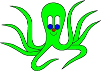 Green Octo-Pus, octopus, cuttlefish, from Online Children's book The cuttlefish Octo-Pus and the crab Crab-Mac-Claw. Main character in tje LUCCA project. By Asbjorn Lonvig, Danish designer and fairy tale writer.