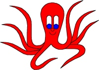 Red Octo-Pus, octopus, cuttlefish, from Online Children's book The cuttlefish Octo-Pus and the crab Crab-Mac-Claw. Main character in tje LUCCA project. By Asbjorn Lonvig, Danish designer and fairy tale writer.