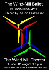 Poster. Theater Poster. The story about The Wind-Mill Ballet and the Wind-Mill Theater. Storytelling implementing corporate values. By storyteller and designer Asbjorn Lonvig, Denmark.