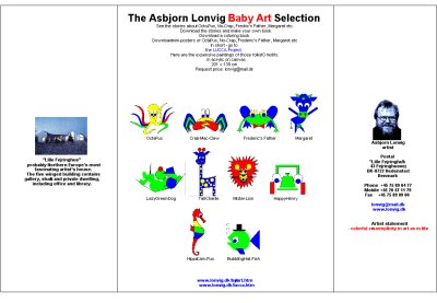 Brochure on my selection of paintings to kids. The motifs are main characters in my fairy tales. By Asbjorn Lonvig, fairy tale writer, Denmark.