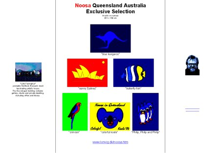Brochure on huge paintings. Motifs from Australia. Noosa is in Queensland. By painter Asbjorn Lonvig, Denmark.
