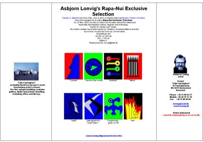 Flyer. Huge paintings by Asbjorn Lonvig, Denmark. Inspired from Easter Island. Rapa Nui.