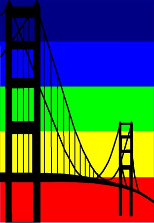 Golden Gay, Gay Area, San Francisco. Inspired from the banners in the gay neighborhood, from the gay pride parades and festivals, from San Francisco being a home to gays - a home without prejudges - or? Bridging? By Asbjorn Lonvig.