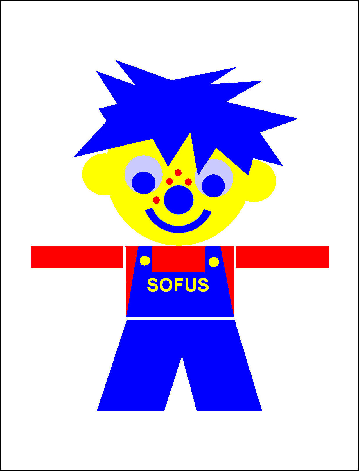 SOFUS-Interplay, blue hair,           4 freckles, large ears, a big smile. The story about SOFUS.           Storytelling implementing corporate values. By Asbjorn Lonvig,           Danish storyteller.