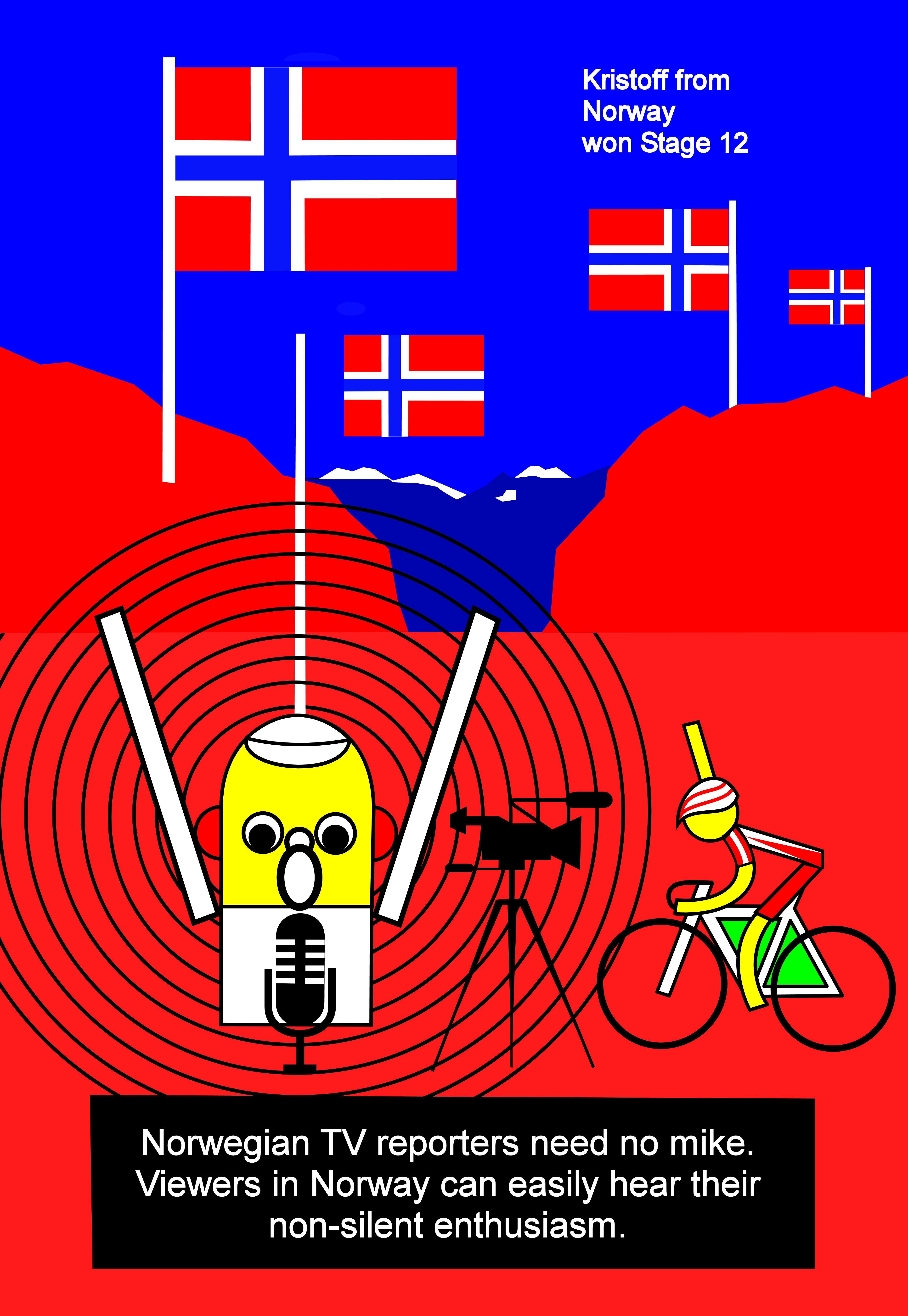 Tallard, Nîmes, Kristoff,                                           Stage 15, July 20th, Norway,                                           celebrates, Norwegian TV,Tour                                           de France 2014, Tour de                                           France, Tallard, Nîmes,                                           Kristoff, étape 15, le 20                                           Juillet, la Norvège, la fête,                                           la télévision norvégienne,                                           Tour de France 2014, Tour de                                           France